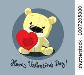 valentines teddy bear with... | Shutterstock .eps vector #1007205880