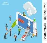 cloud download flat isometric . ...   Shutterstock . vector #1007208790