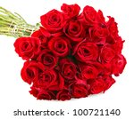 Stock photo bunch of red roses isolated on the white background 100721140