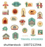 labels travel. stickers with... | Shutterstock .eps vector #1007212546