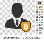 bitcoin person shield icon with ...