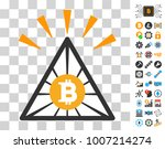 bitcoin pyramid shine icon with ...