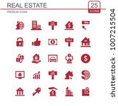 real estate icons set red | Shutterstock .eps vector #1007215504