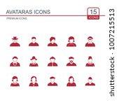 avataras icons set red | Shutterstock .eps vector #1007215513
