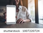 mockup image of a woman holding ... | Shutterstock . vector #1007220724