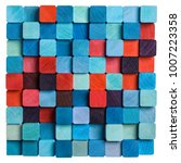 wooden colorful blue and red... | Shutterstock . vector #1007223358