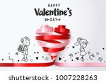 twirl red and pink heart ribbon ... | Shutterstock .eps vector #1007228263