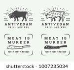 set of vintage butchery meat ... | Shutterstock .eps vector #1007235034