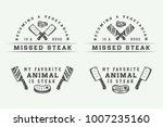 set of vintage butchery meat ... | Shutterstock .eps vector #1007235160