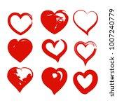 grunge heart set. valentine day ... | Shutterstock .eps vector #1007240779