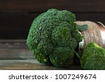 broccoli cabbage in a tin on a...   Shutterstock . vector #1007249674