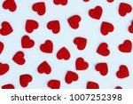 red heart background. valentine ... | Shutterstock . vector #1007252398