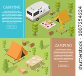 isometric camping and hiking... | Shutterstock .eps vector #1007254324