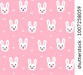 cute cartoon rabbit pattern.... | Shutterstock .eps vector #1007258059
