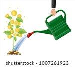 businessman hand watering money ... | Shutterstock .eps vector #1007261923