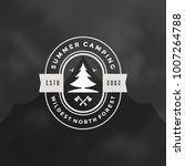 forest camping logo emblem...   Shutterstock .eps vector #1007264788