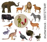 set of wild animals with hunter.... | Shutterstock .eps vector #1007277649