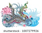 thai traditional tattoo design... | Shutterstock .eps vector #1007279926