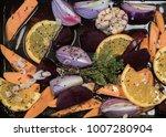 Dish Of Colouful Orange. Green...