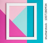 Small photo of Abstract pastel colored paper texture minimalism background. Minimal geometric shapes and lines composition with empty picture frame.