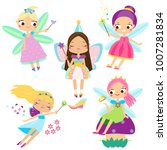 cute fairy set. beautiful girl... | Shutterstock .eps vector #1007281834