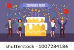 office team celebrates birthday ... | Shutterstock .eps vector #1007284186