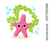 starfish with a green leaf.... | Shutterstock .eps vector #1007285488