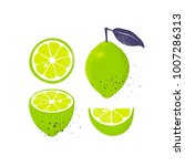 collection of limes  isolated... | Shutterstock .eps vector #1007286313
