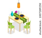 dinning table with chairs... | Shutterstock .eps vector #1007289250