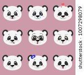set of cute panda bear face... | Shutterstock .eps vector #1007298079