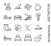 sleep line icon set. included... | Shutterstock .eps vector #1007307130