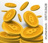 golden bitcoin symbols... | Shutterstock .eps vector #1007313628