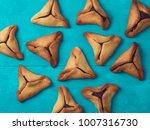 hamantaschen cookies on blue...   Shutterstock . vector #1007316730