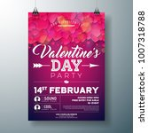 vector valentines day party... | Shutterstock .eps vector #1007318788