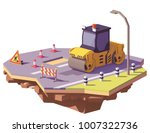 vector low poly road roller or... | Shutterstock .eps vector #1007322736