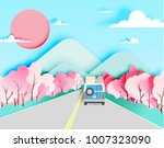 road trip with car in spring... | Shutterstock .eps vector #1007323090