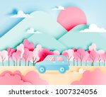 road trip with car in spring... | Shutterstock .eps vector #1007324056