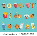cartoon funny friends fast food ... | Shutterstock .eps vector #1007331670
