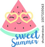 Stock vector cute cartoon watermelon with sunglasses vector 1007335063
