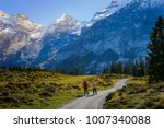 two travelers hiking to trail...   Shutterstock . vector #1007340088