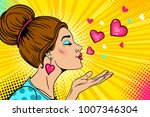 wow love girl. young sexy woman ... | Shutterstock .eps vector #1007346304