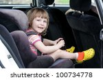 happy child in carseat | Shutterstock . vector #100734778