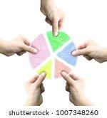 five hands separate pie chart   ... | Shutterstock . vector #1007348260