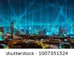 abstract light beam and digital ... | Shutterstock . vector #1007351524