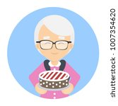 grandmother with cake in... | Shutterstock .eps vector #1007354620