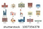 city buildings set on white.... | Shutterstock .eps vector #1007356378