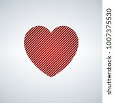 red heart with diagonal stripes ...