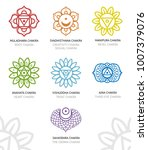 chakras icons line set in color.... | Shutterstock .eps vector #1007379076