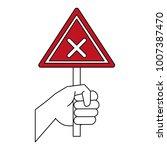 hand with roadsign | Shutterstock .eps vector #1007387470