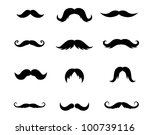 Set Of Mustaches Isolated On...